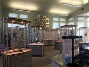 glasses display shelves
